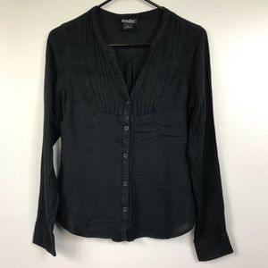 Lucky Brand Long Sleeve Black Button Up Blouse S